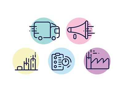 Suburban Icons production project management marketing promotion distribution pastel lines iconset icon suburban