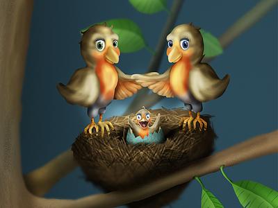 Roodborst babycard illustration birds card baby
