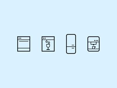 Appliances Icons icons icon coffeemaker fridge over dishwasher
