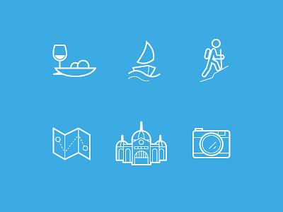 Icons Australia icons camera map sea sailing hiking food wine australia