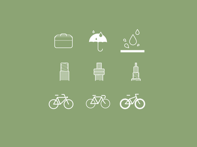 Icons Cycling model bike splatter weather briefcase cycling icons