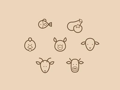 Icons BBQ beef goat lamb pork chicken veggies fish animals bbq icons