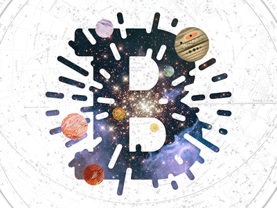 B is for Big Bang show  tell vintage lettering planets astronomy collage illustration b