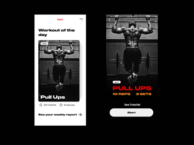 Workout of the Day - Dailyui 63 flat ui ux minimal app design exercise app workout app dailyui