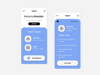 School Online Class App uiuxdesign uiux app design school app ui ux