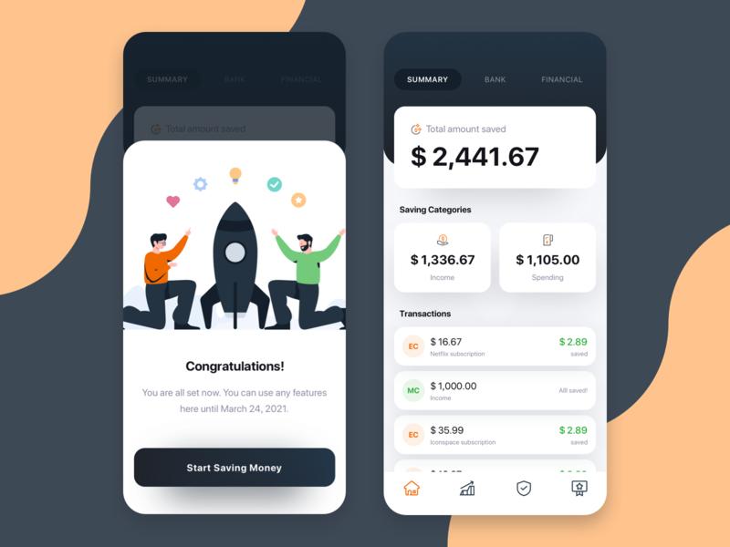Moneysaver app dailyui money management financial plan finance manager spend manager fintech money saver onboarding web design landing page illustration
