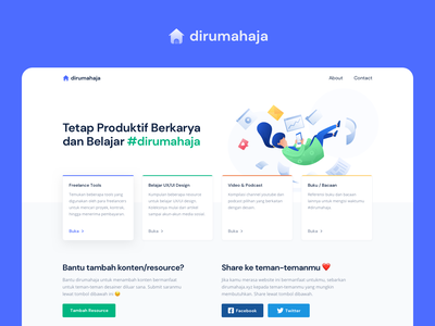 dirumahaja - a #StayAtHome Project onboarding web design illustration resource blog articles book podcast video channel landing page stayhome ux learn freelance tools jobs remotework corona stayathome