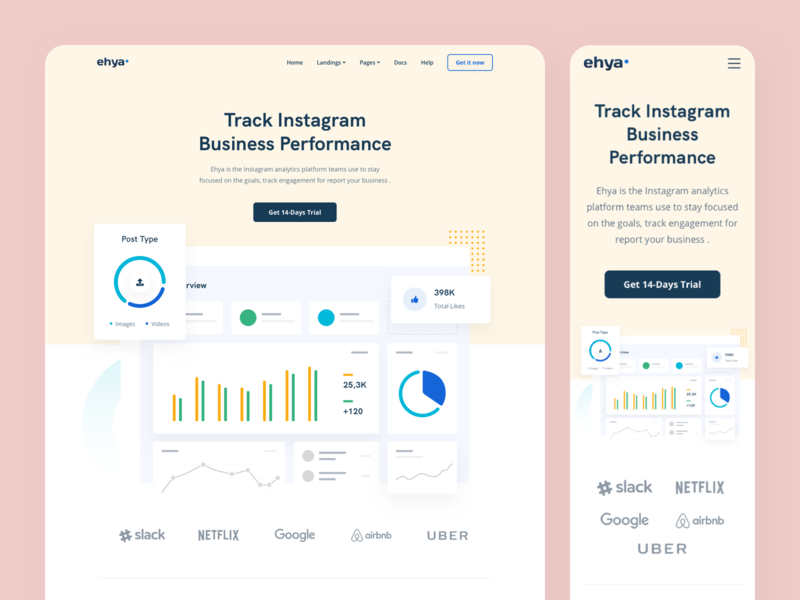 Ehya: Social Media Management Landing Page app branding apps dashboard marketing platform social media marketing saas platform social media management vector web design landing page illustration