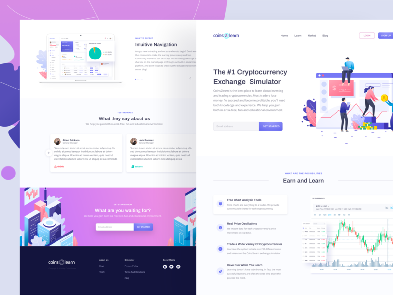 Coins2Learn Homepage branding typography dashboard onboarding crypto trading cryptocurrency exchange cryptocurrency marketing website growth marketing landing page vector web design landing page illustration