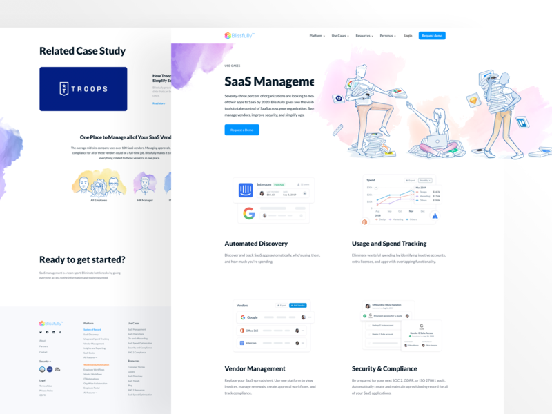 Blissfully Use Cases Page saas website saas landing page saas product saas platform saas management dashboard vector web design landing page illustration