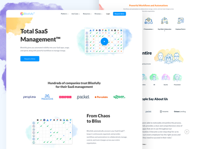 Blissfully Homepage ux branding colorful illustration growth marketing website animation saas management tools saas website saas landing page dashboard onboarding web design landing page illustration