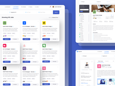 Dashboard UI Kit saas portal admin panel back end page illustration landing page dashboard job finder card profile page minimal design ui design dashboard template dashboard ui kit web design