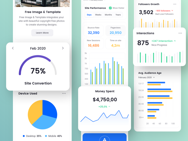 Mobile Dashboard Exploration square ui kit platform analytics data driven chart and data dashboard template wordpress design data management card design mobile app web design