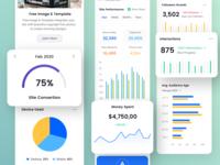 Mobile Dashboard Exploration square ui kit platform analytics data driven chart and data dashboard template wordpress design data management card design mobile app web design
