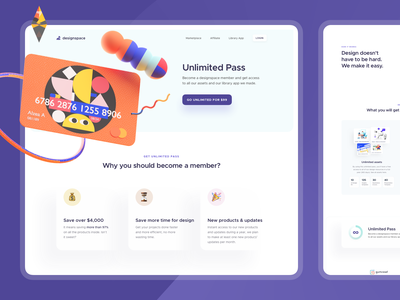 Designspace Unlimited Pass dashboard how it works features page saas digital product product design onboarding web design subscription membership ecommerce marketplace landing page marketing website 3d illustration