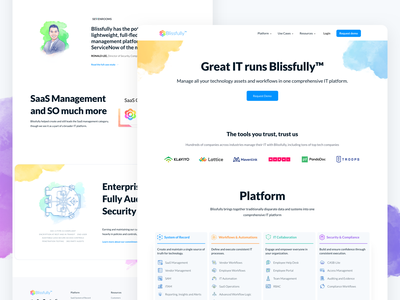 Blissfully New Homepage testimonial homepage design exploration saas platform saas management features ui design branding icon design icon dashboard apps web design landing page illustration