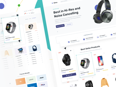 Elma e-Commerce UI Kit online store shop cart shopping marketplace store shopify design element drag and drop brand collumn thumbnail product page card ecommerce ui kit minimal onboarding web design landing page