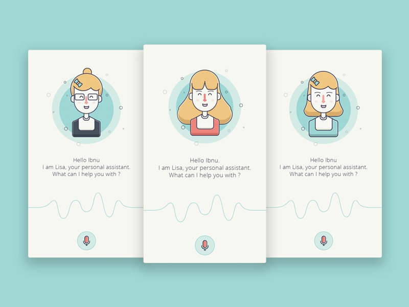 Personal Assistant Apps ios apps line icon vector girl face character illustration personal assistant