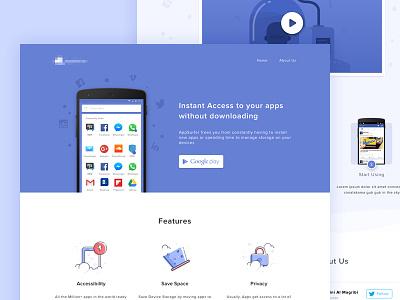 Cloud Apps Landing Page material design cloud landing page apps android web ux ui web design illustration