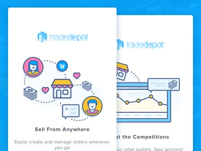 Inventory Management Apps Onboarding 2 wholesale walktrough vector sale onboarding material design inventory illustration icon ecommerce