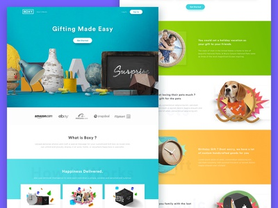 Boxy Landing Page ux design ui gradient web design manipulation love present gift box landing page