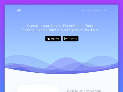 Music Streaming Apps Landing Page landing page video trend list feed comments social playlist card streaming player music