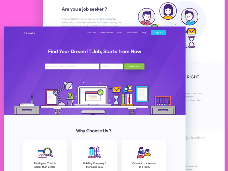 IT Recruitment Homepage product design platform gradient big header illustration header line icon marketplace recruitment landing page homepage