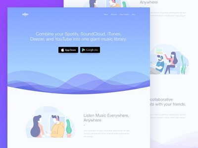 Music Streaming Apps Landing Page illustration landing page video trend list feed comments social playlist card streaming music