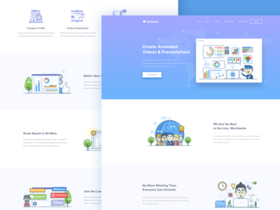 Animation Video Website product corporate education video presentation line icon icon illustration landing page