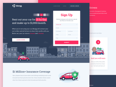 Blongg : Sharing Car to Uber and Lyft Driver vehicle uber transportation taxi sharing product lyft page landing insurance illustration car