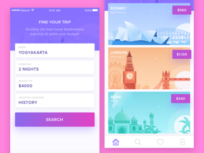 Just Go App - Travelling On Your Way home thumbnail form card ticket holiday trip travel gradient app