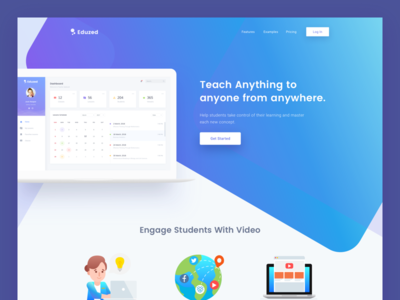 Education Platform Landing Page illustration lms school college student landing page website education learn university