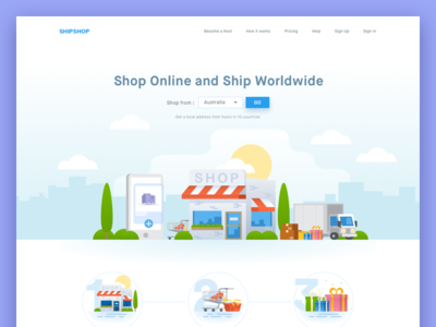 Shipping Company Landing Page how it works ecommerce landscape city big header illustration landing page online shop shipping
