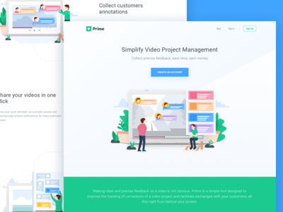 Video Project Management Landing Page entertainment vlog agency manage project management landing page app video