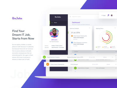 Gojobs - Find It Jobs icon set illustration landing page candidates saas crm dashboard startup company employee job