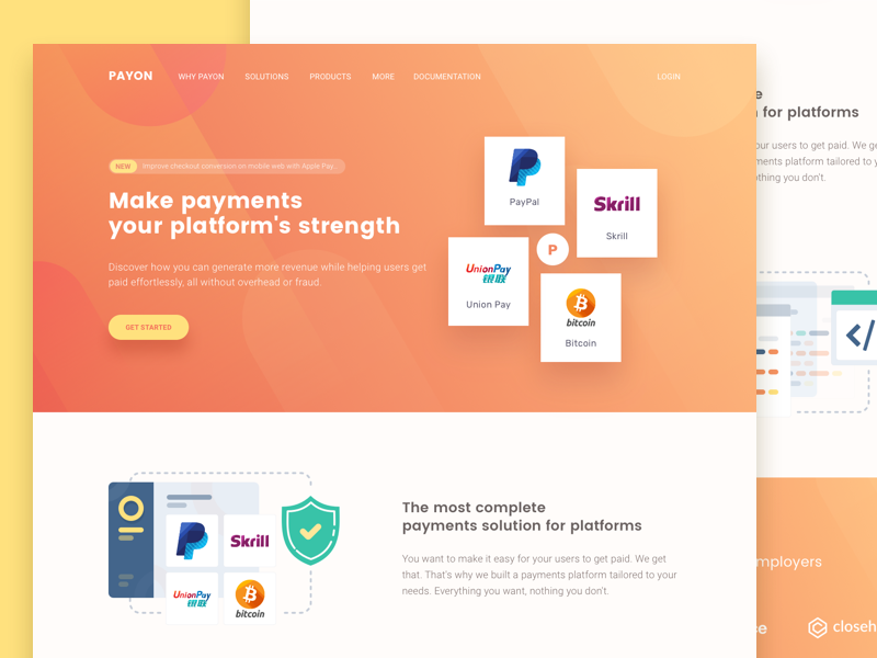Payment API bitcoin code platform api paypal landing page fintech payment