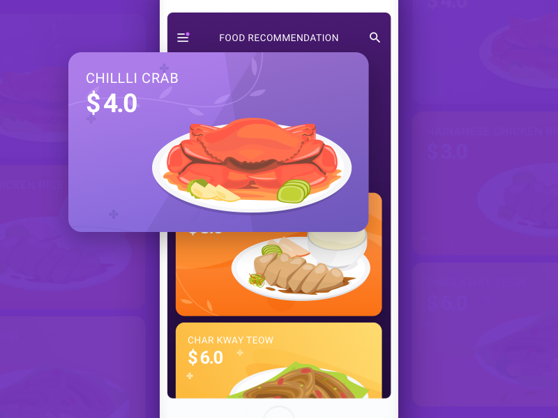 Food Card In App social health restaurant coupon cc flat design illustration card food