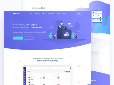 CRM Homepage dashboard illustration pricing resources solution sales marketing saas landing page crm