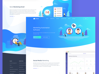 CRM - Marketing solution sales saas resources pricing marketing landing page illustration dashboard crm