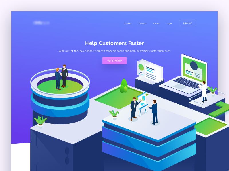 Customer Support Website analytics data customer support isometric icon ui website illustration header landing page