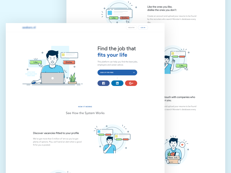 Jobseeker - Find Job workspace tinder marketplace landing page jobseeker illustration icon find job dropbox business
