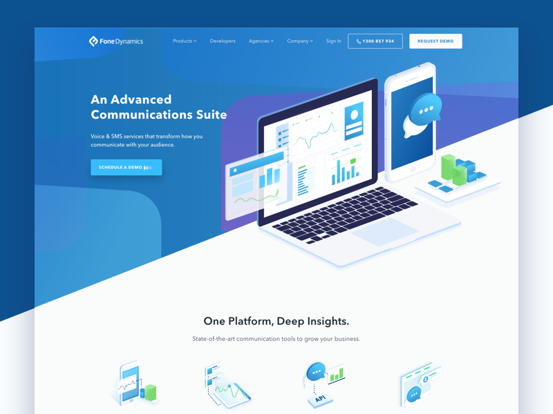 Fone Dynamics Homepage isometric illustration ui design professional marketing website saas website marketing software platform marketing communications platform communications