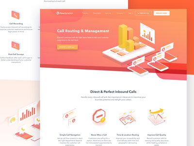 Call Routing And Management Page landing page call routing service ui design saas website professional marketing website platform marketing software platform marketing communications isometric illustration communications