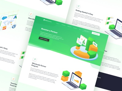Partner Page crm marketing automation ui design saas website professional marketing website platform marketing software platform marketing communications landing page isometric illustration communications call routing service
