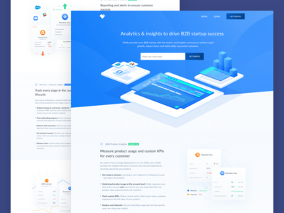 Vitally Landing Page saas product b2b company service data insights gradient header isometric design header illustration landing page crm data software analytics