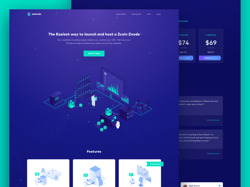 Zednode Landing Page wordpress development site pricing page icons web design logo design cryptocurrency website beautiful header illustration high conversion landing page