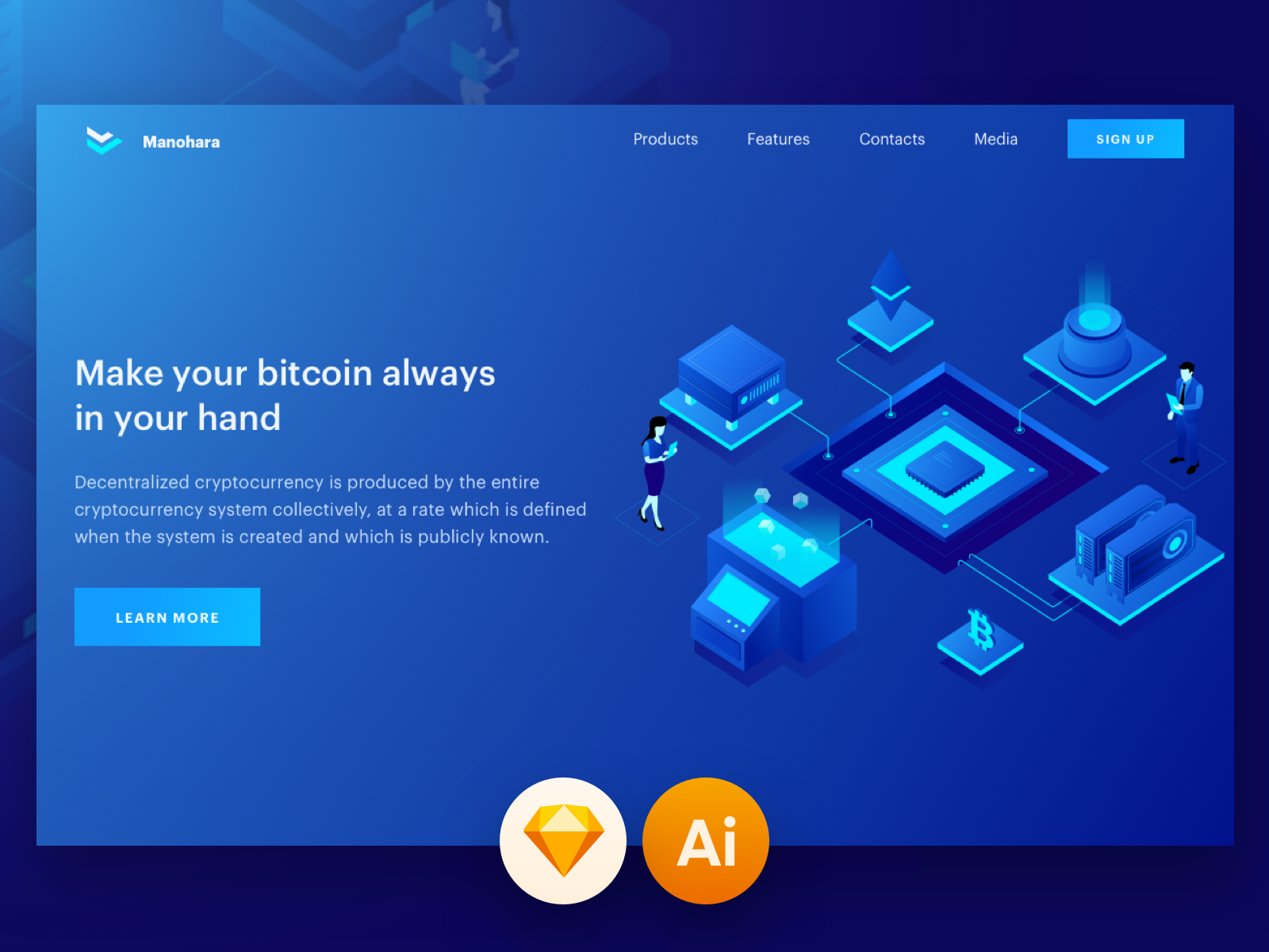 Cryptocurrency and technology isometric illustration 2