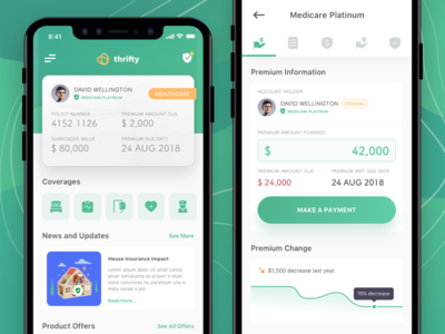 Thrifty Insurance App landing page typography healthcare icon set iconspace ios apps ux ui design app homepage fintech insurance healthcare