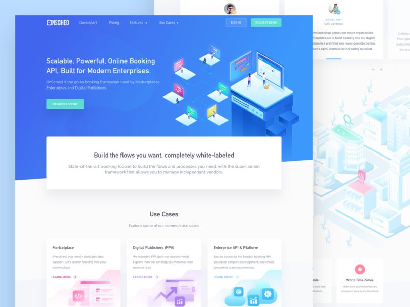 Onsched Homepage iconspace icon saas ux design isometric illustration header exploration high conversion rate website marketing website design header illustration vector web design onboarding landing page illustration