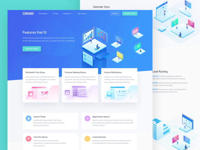 Onsched Features Page floating card card features page high conversion rate website marketing web page crm header illustration isometric illustration icon vector web design onboarding landing page illustration